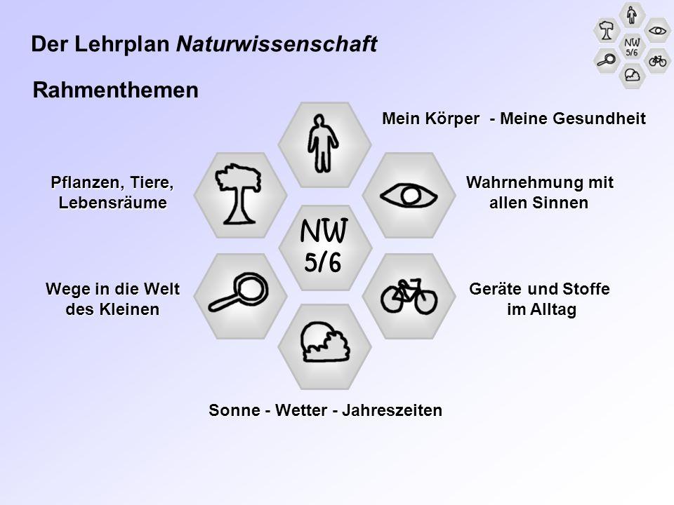 NW 5/6 Geräte und Stoffe im Alltag Wahrnehmung mit allen Sinnen Sonne - Wetter - Jahreszeiten Mein Körper - Meine Gesundheit Pflanzen, Tiere, Lebensrä
