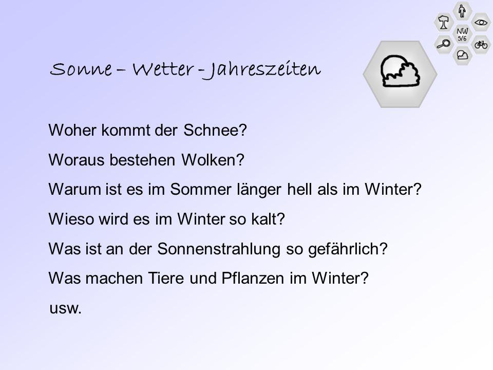 Sonne – Wetter - Jahreszeiten Woher kommt der Schnee? Woraus bestehen Wolken? Warum ist es im Sommer länger hell als im Winter? Wieso wird es im Winte