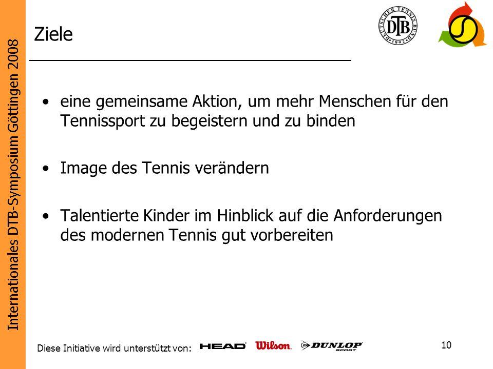 Internationales DTB-Symposium Göttingen 2008 Diese Initiative wird unterstützt von: 10 Ziele eine gemeinsame Aktion, um mehr Menschen für den Tennissp
