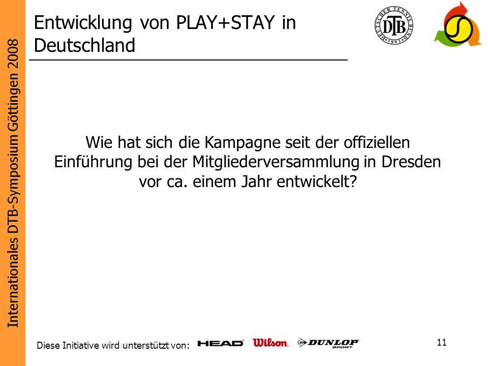 Internationales DTB-Symposium Göttingen 2008 Diese Initiative wird unterstützt von: 11 Entwicklung von PLAY+STAY in Deutschland Wie hat sich die Kampa