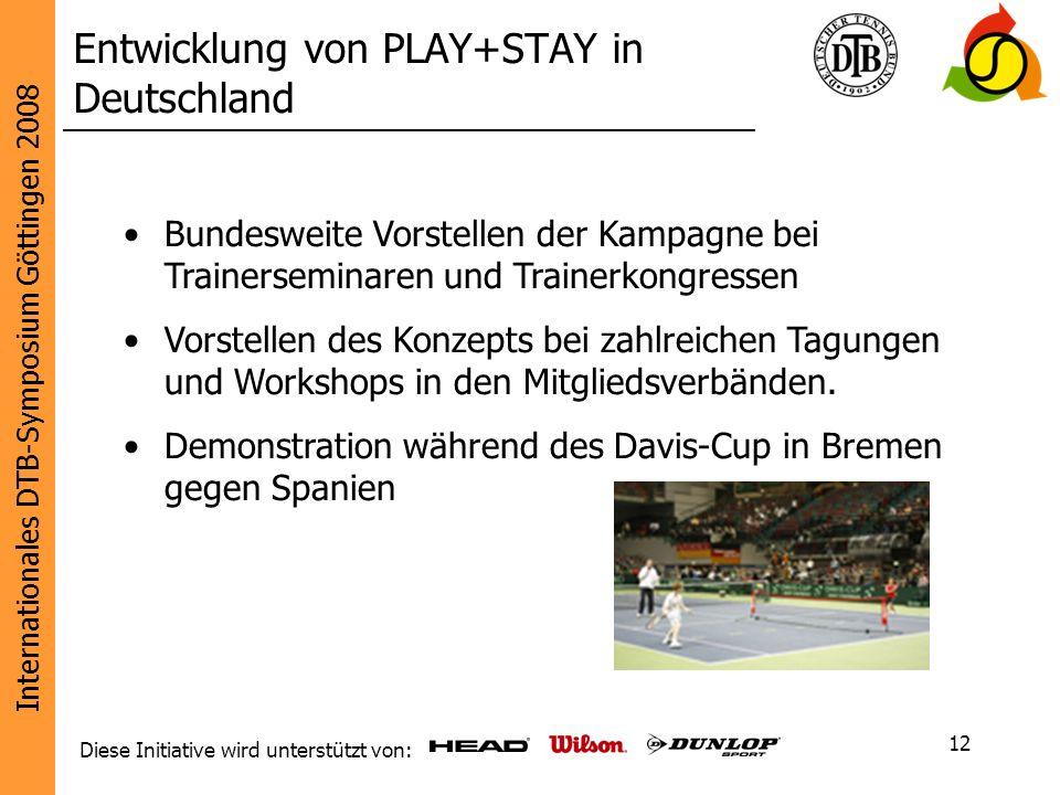 Internationales DTB-Symposium Göttingen 2008 Diese Initiative wird unterstützt von: 12 Entwicklung von PLAY+STAY in Deutschland Bundesweite Vorstellen