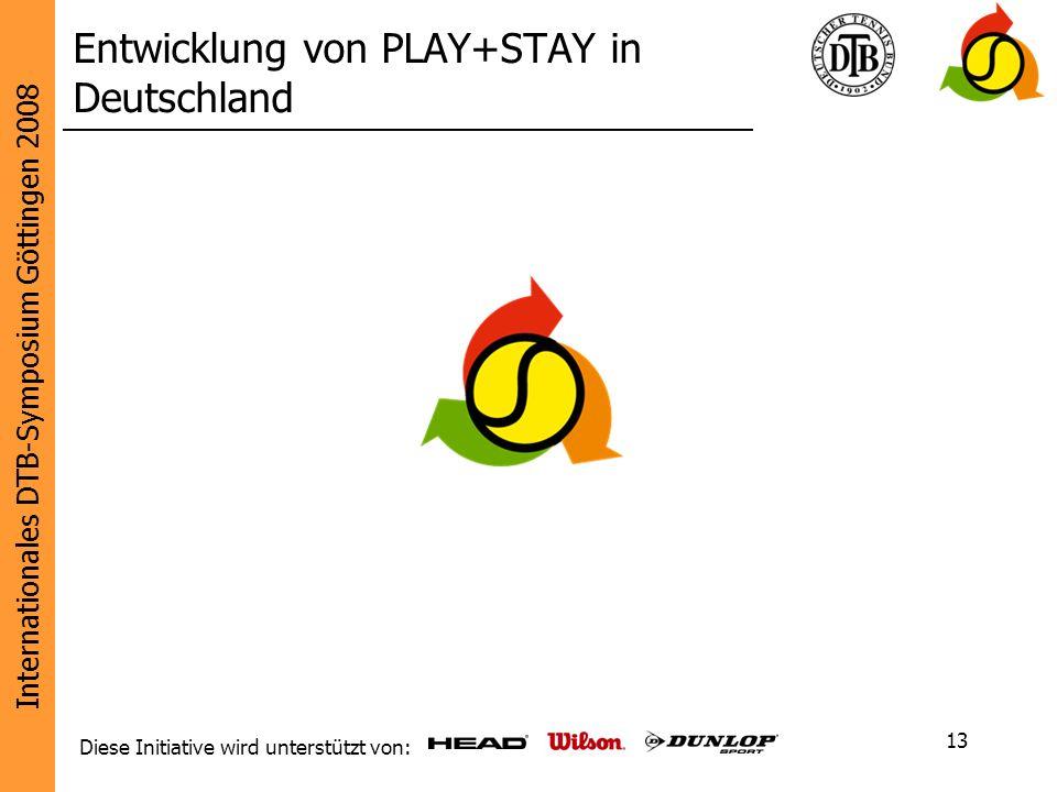 Internationales DTB-Symposium Göttingen 2008 Diese Initiative wird unterstützt von: 13 Entwicklung von PLAY+STAY in Deutschland