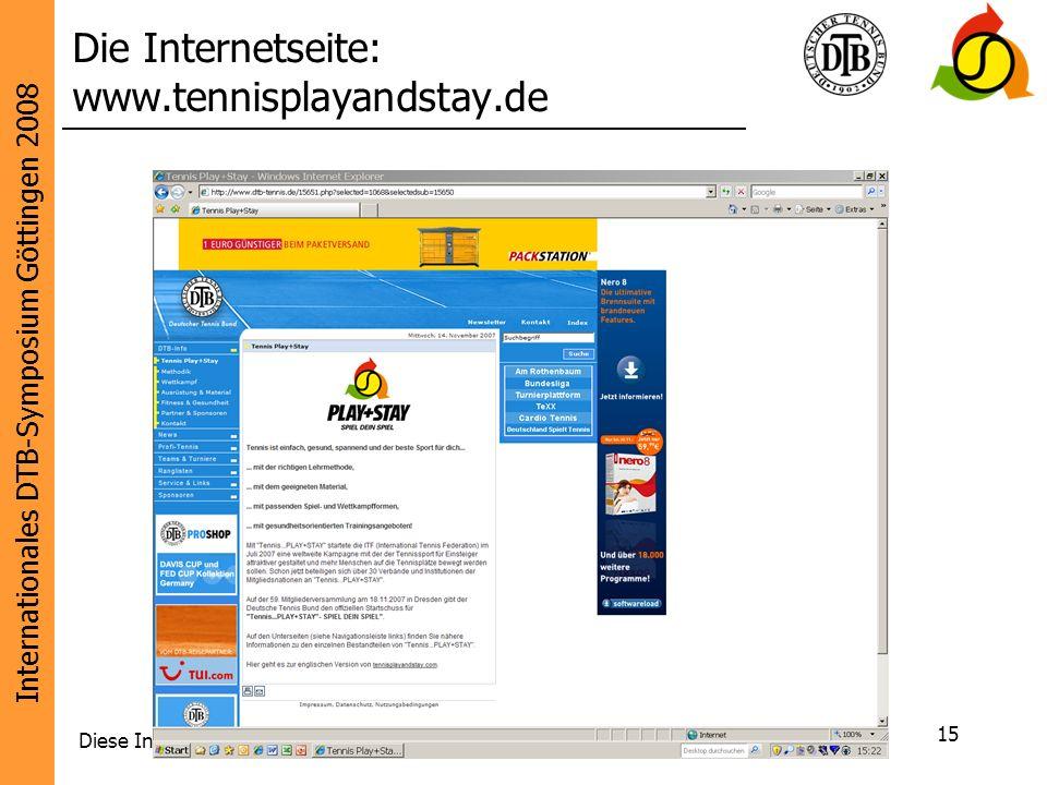 Internationales DTB-Symposium Göttingen 2008 Diese Initiative wird unterstützt von: 15 Die Internetseite: www.tennisplayandstay.de