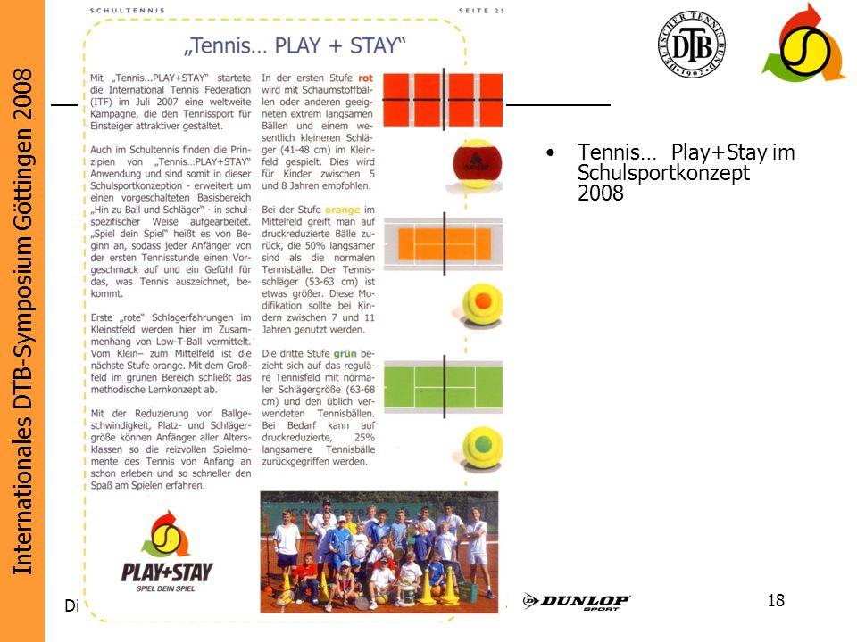 Internationales DTB-Symposium Göttingen 2008 Diese Initiative wird unterstützt von: 18 Tennis… Play+Stay im Schulsportkonzept 2008