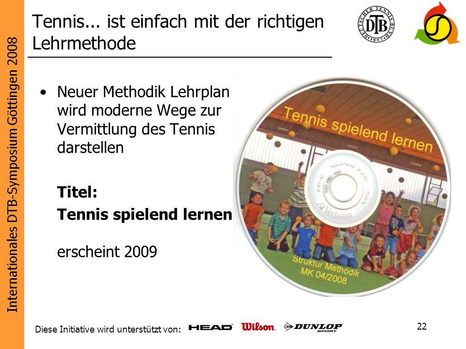 Internationales DTB-Symposium Göttingen 2008 Diese Initiative wird unterstützt von: 22 Tennis... ist einfach mit der richtigen Lehrmethode Neuer Metho