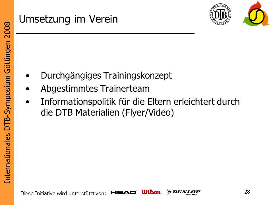 Internationales DTB-Symposium Göttingen 2008 Diese Initiative wird unterstützt von: 28 Umsetzung im Verein Durchgängiges Trainingskonzept Abgestimmtes
