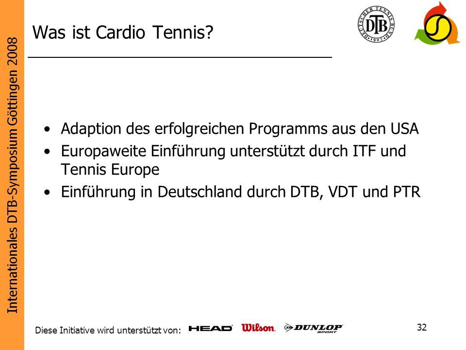 Internationales DTB-Symposium Göttingen 2008 Diese Initiative wird unterstützt von: 32 Was ist Cardio Tennis? Adaption des erfolgreichen Programms aus