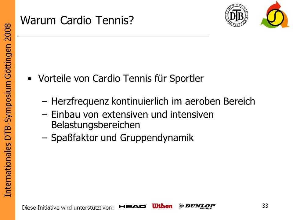 Internationales DTB-Symposium Göttingen 2008 Diese Initiative wird unterstützt von: 33 Warum Cardio Tennis? Vorteile von Cardio Tennis für Sportler –H