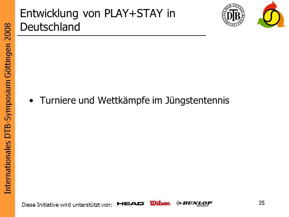 Internationales DTB-Symposium Göttingen 2008 Diese Initiative wird unterstützt von: 35 Turniere und Wettkämpfe im Jüngstentennis Entwicklung von PLAY+