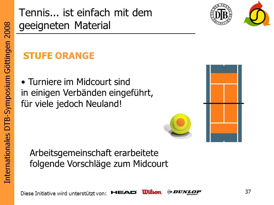 Internationales DTB-Symposium Göttingen 2008 Diese Initiative wird unterstützt von: 37 STUFE ORANGE Tennis... ist einfach mit dem geeigneten Material