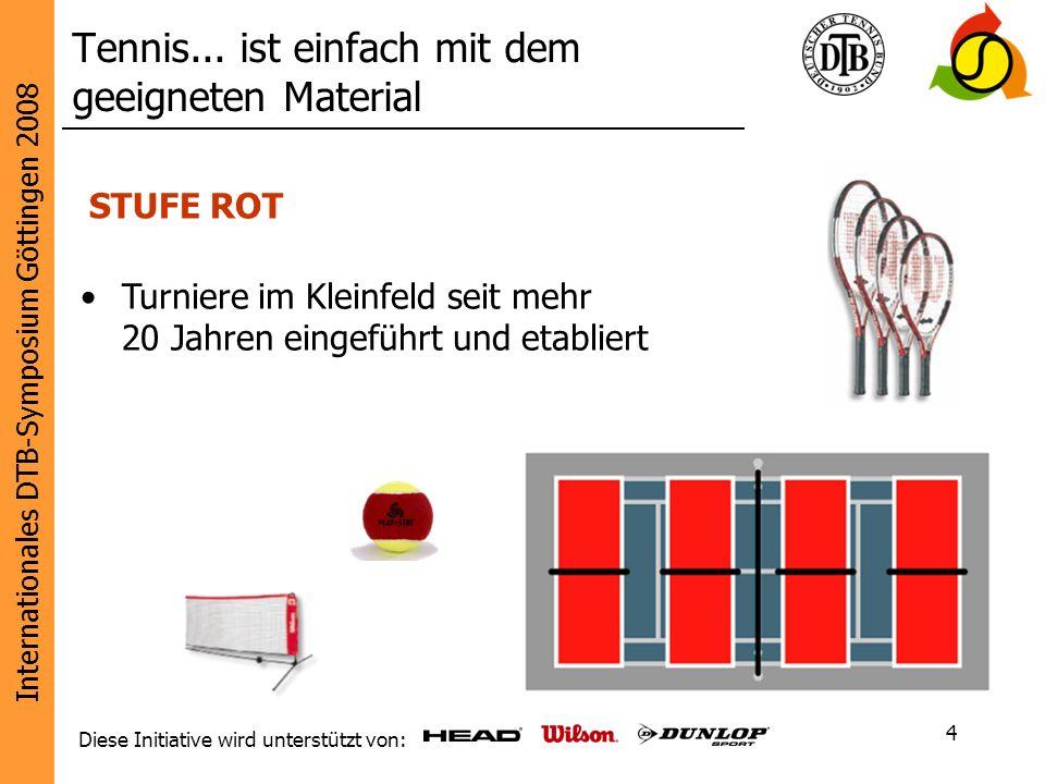 Internationales DTB-Symposium Göttingen 2008 Diese Initiative wird unterstützt von: 4 Tennis... ist einfach mit dem geeigneten Material STUFE ROT Turn