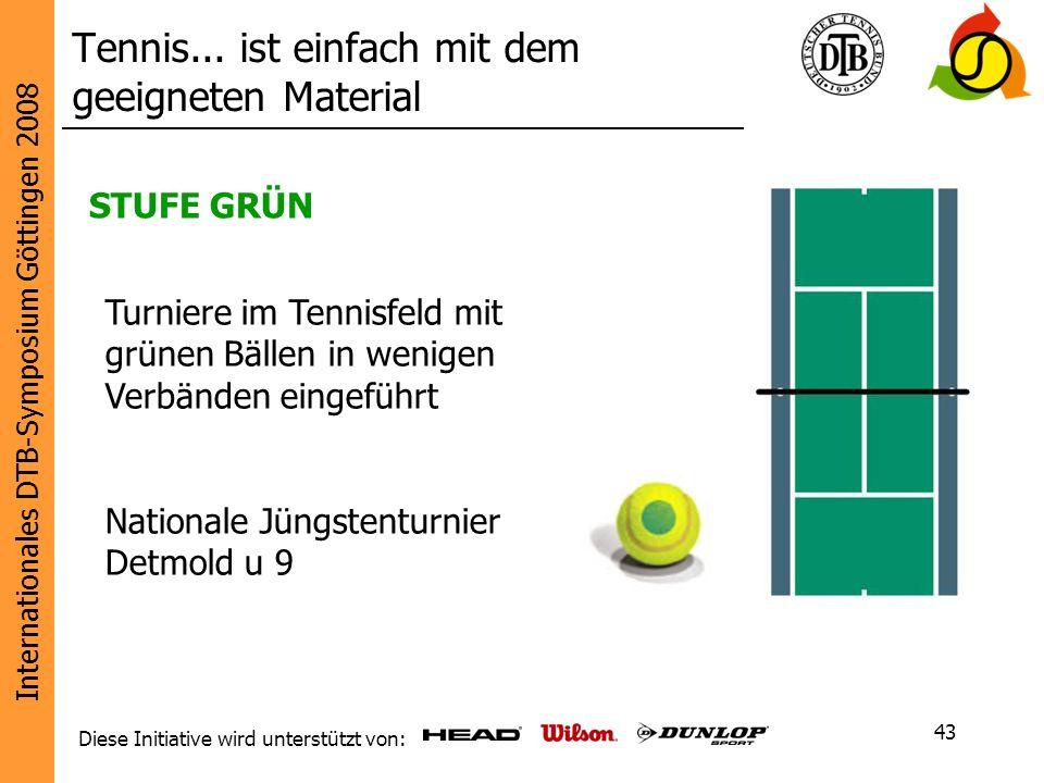 Internationales DTB-Symposium Göttingen 2008 Diese Initiative wird unterstützt von: 43 STUFE GRÜN Turniere im Tennisfeld mit grünen Bällen in wenigen