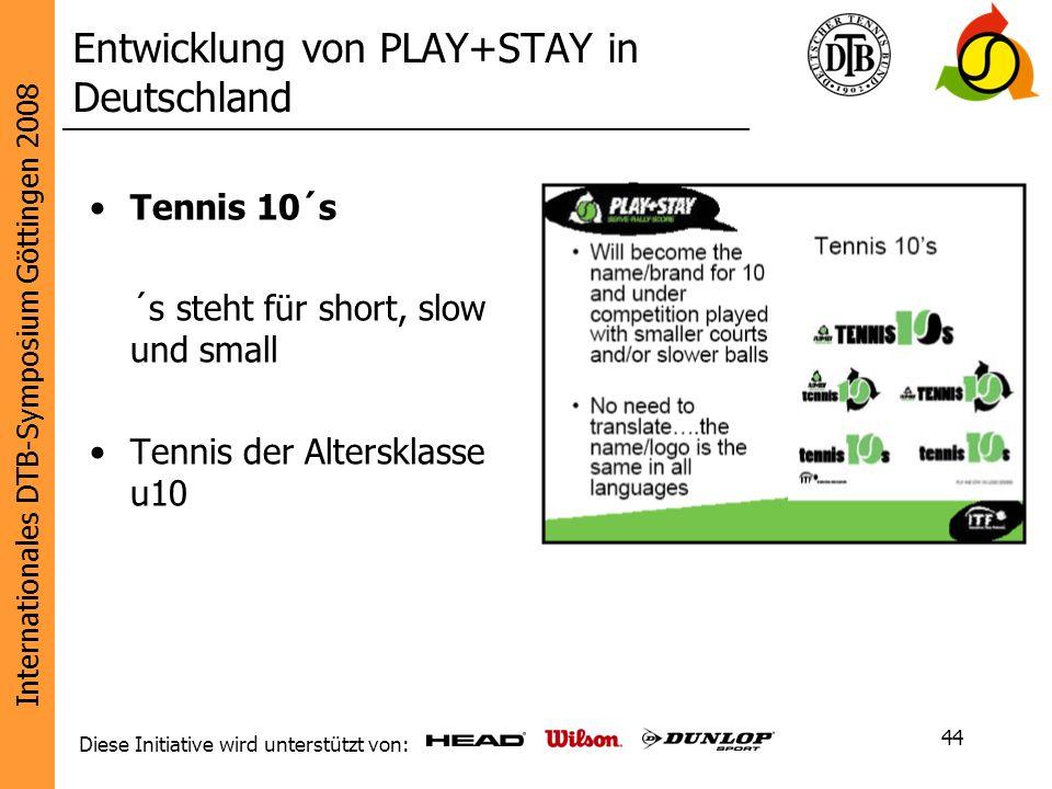Internationales DTB-Symposium Göttingen 2008 Diese Initiative wird unterstützt von: 44 Tennis 10´s ´s steht für short, slow und small Tennis der Alter