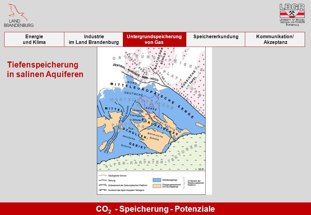 CO 2 - Speicherung - Potenziale Tiefenspeicherung in salinen Aquiferen Landesamt für Bergbau, Geologie und Rohstoffe Brandenburg Energie und Klima Ind