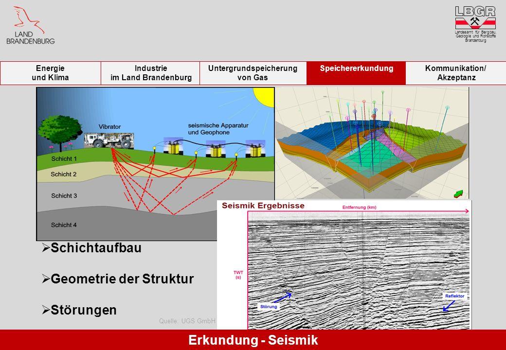 Quelle: UGS GmbH Schichtaufbau Geometrie der Struktur Störungen Erkundung - Seismik Landesamt für Bergbau, Geologie und Rohstoffe Brandenburg Energie