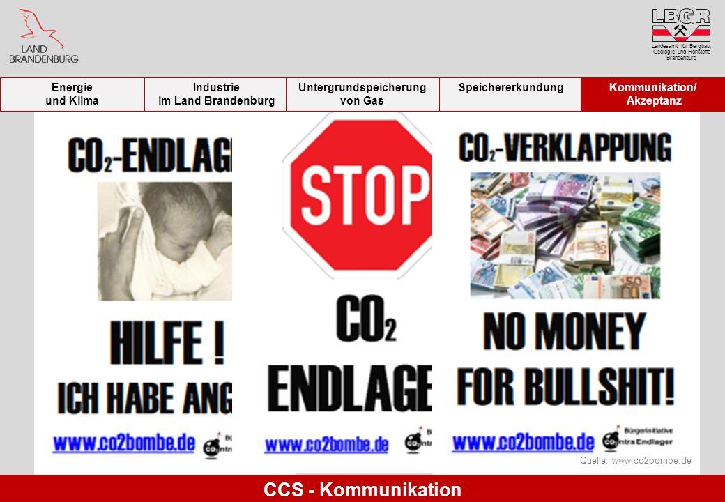 Landesamt für Bergbau, Geologie und Rohstoffe Brandenburg Quelle: www.co2bombe.de CCS - Kommunikation Energie und Klima Industrie im Land Brandenburg