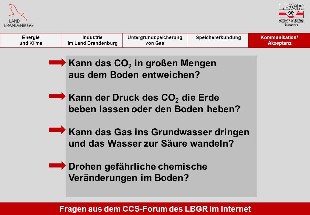 Fragen aus dem CCS-Forum des LBGR im Internet Kann das CO 2 in großen Mengen aus dem Boden entweichen? Kann der Druck des CO 2 die Erde beben lassen o