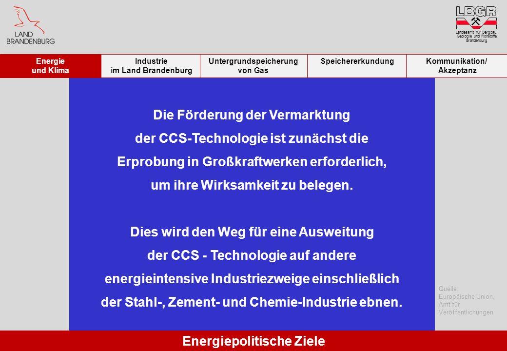 Landesamt für Bergbau, Geologie und Rohstoffe Brandenburg Die Förderung der Vermarktung der CCS-Technologie ist zunächst die Erprobung in Großkraftwer