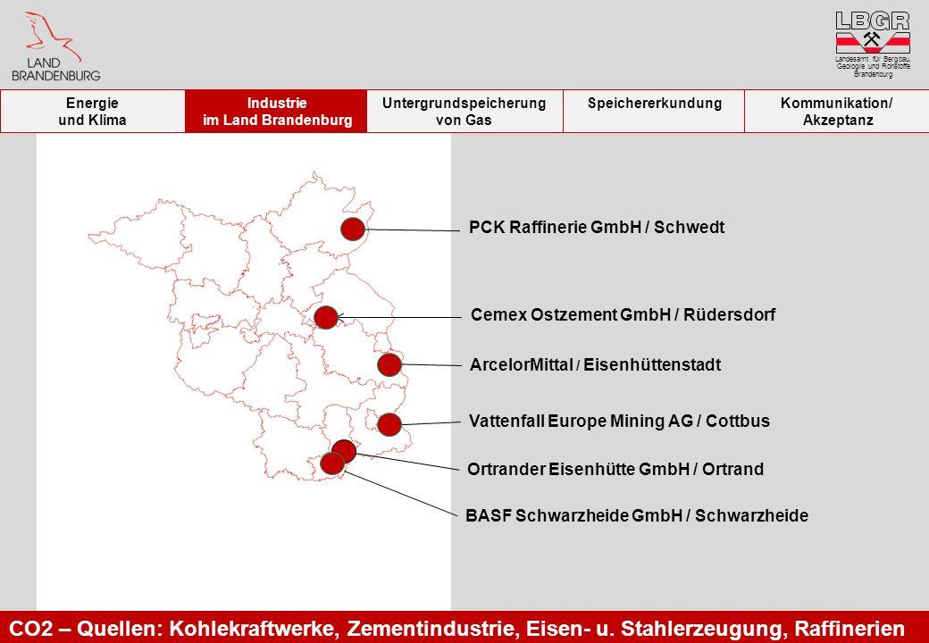 Landesamt für Bergbau, Geologie und Rohstoffe Brandenburg ArcelorMittal / Eisenhüttenstadt Ortrander Eisenhütte GmbH / Ortrand Cemex Ostzement GmbH /