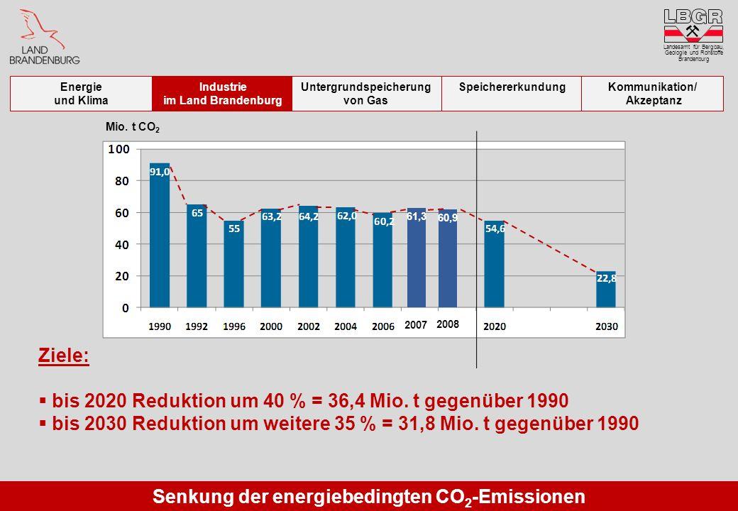 Senkung der energiebedingten CO 2 -Emissionen Ziele: bis 2020 Reduktion um 40 % = 36,4 Mio. t gegenüber 1990 bis 2030 Reduktion um weitere 35 % = 31,8