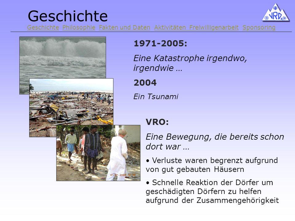 1971-2005: Eine Katastrophe irgendwo, irgendwie … 2004 Ein Tsunami VRO: Eine Bewegung, die bereits schon dort war … Verluste waren begrenzt aufgrund von gut gebauten Häusern Schnelle Reaktion der Dörfer um geschädigten Dörfern zu helfen aufgrund der Zusammengehörigkeit Geschichte Geschichte Philosophie Fakten und Daten Aktivitäten Freiwilligenarbeit SponsoringPhilosophieFakten und DatenAktivitäten FreiwilligenarbeitSponsoring