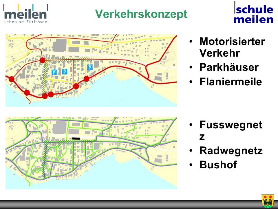 Verkehrskonzept Motorisierter Verkehr Parkhäuser Flaniermeile Fusswegnet z Radwegnetz Bushof