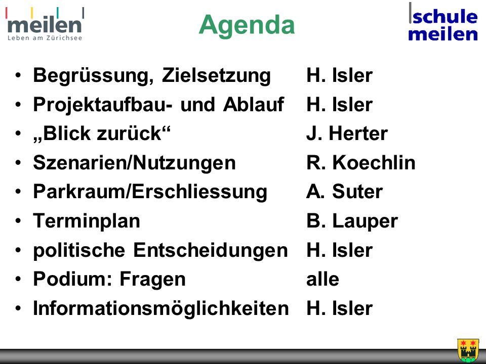 Agenda Begrüssung, ZielsetzungH. Isler Projektaufbau- und AblaufH. Isler Blick zurückJ. Herter Szenarien/NutzungenR. Koechlin Parkraum/ErschliessungA.
