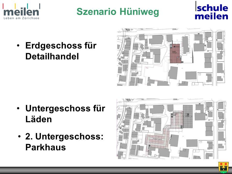2. Untergeschoss: Parkhaus Szenario Hüniweg Erdgeschoss für Detailhandel Untergeschoss für Läden
