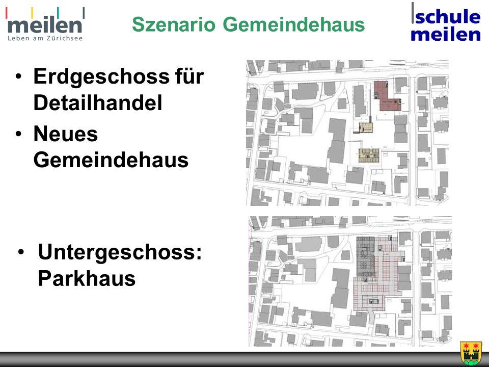 Untergeschoss: Parkhaus Szenario Gemeindehaus Erdgeschoss für Detailhandel Neues Gemeindehaus