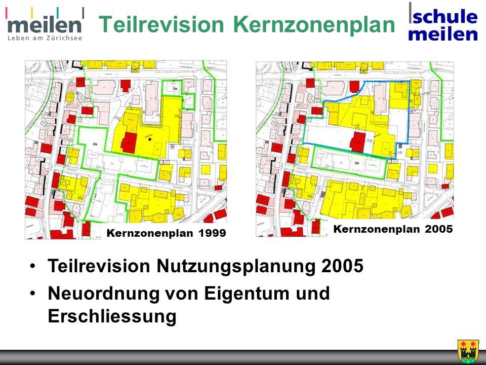 Teilrevision Kernzonenplan Kernzonenplan 1999 Kernzonenplan 2005 Teilrevision Nutzungsplanung 2005 Neuordnung von Eigentum und Erschliessung