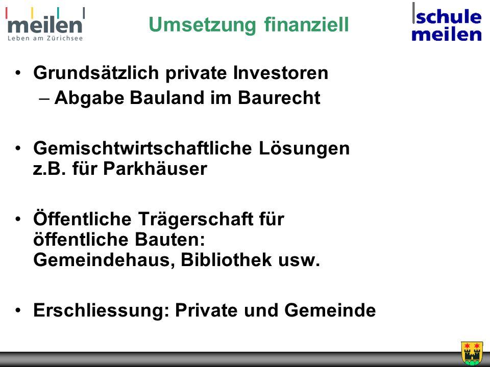 Umsetzung finanziell Grundsätzlich private Investoren –Abgabe Bauland im Baurecht Gemischtwirtschaftliche Lösungen z.B. für Parkhäuser Öffentliche Trä