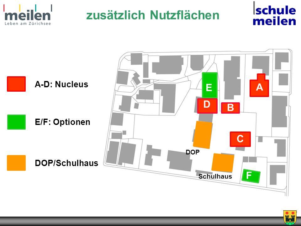 zusätzlich Nutzflächen DOP/Schulhaus A-D: Nucleus E/F: Optionen A B D C E F DOP Schulhaus