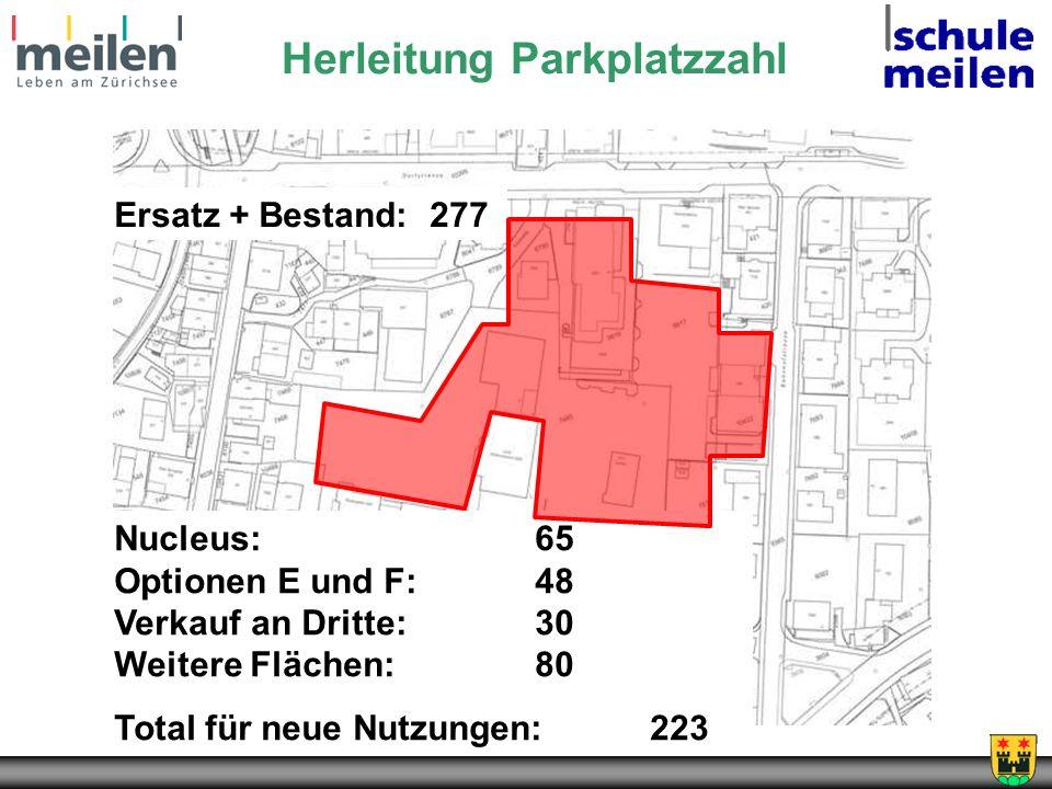 Nucleus:65 Optionen E und F:48 Verkauf an Dritte:30 Weitere Flächen:80 Total für neue Nutzungen: 223 Ersatz + Bestand:277 Herleitung Parkplatzzahl