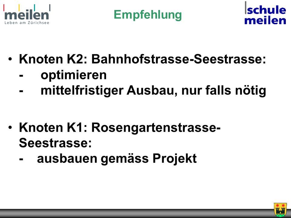 Empfehlung Knoten K2: Bahnhofstrasse-Seestrasse: - optimieren - mittelfristiger Ausbau, nur falls nötig Knoten K1: Rosengartenstrasse- Seestrasse: -ausbauen gemäss Projekt
