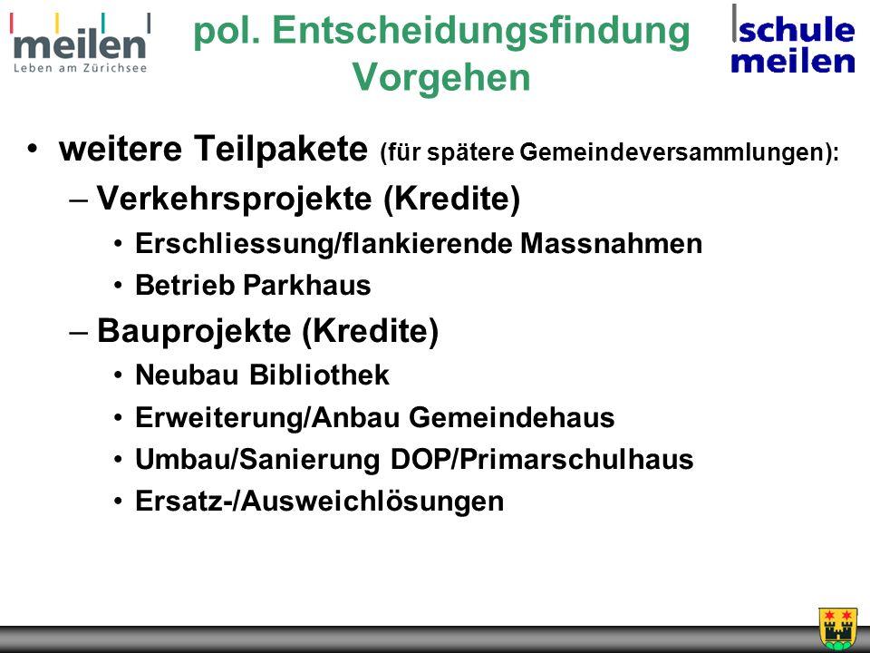 pol. Entscheidungsfindung Vorgehen weitere Teilpakete (für spätere Gemeindeversammlungen): –Verkehrsprojekte (Kredite) Erschliessung/flankierende Mass