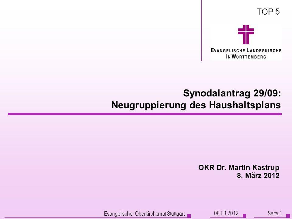 08.03.2012 Evangelischer Oberkirchenrat Stuttgart Seite 1 Synodalantrag 29/09: Neugruppierung des Haushaltsplans OKR Dr. Martin Kastrup 8. März 2012 T
