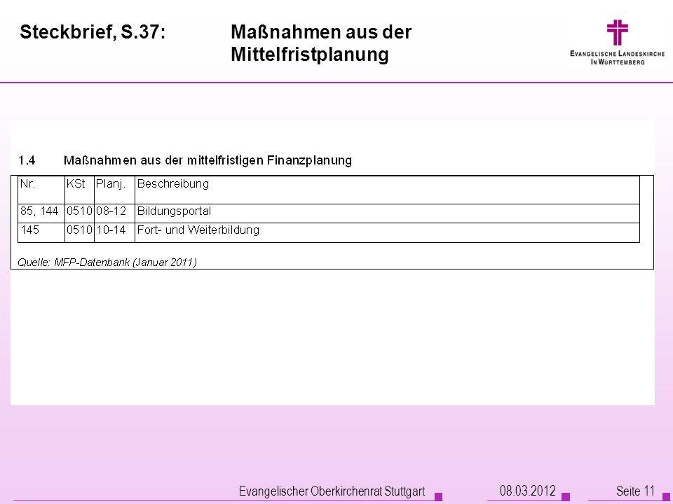 Steckbrief, S.37:Maßnahmen aus der Mittelfristplanung Evangelischer Oberkirchenrat Stuttgart Seite 1108.03.2012