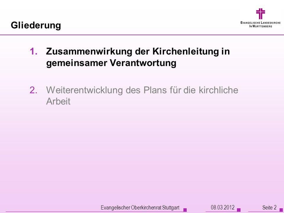 Evangelischer Oberkirchenrat Stuttgart Seite 2 Gliederung 1.Zusammenwirkung der Kirchenleitung in gemeinsamer Verantwortung 2.Weiterentwicklung des Pl