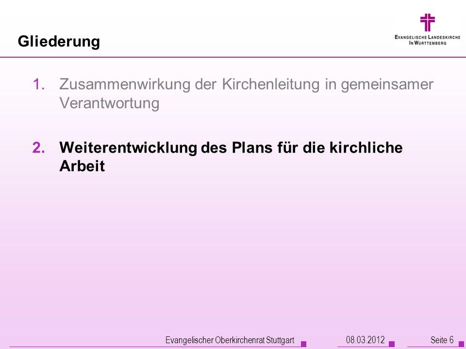 Evangelischer Oberkirchenrat Stuttgart Seite 6 Gliederung 1.Zusammenwirkung der Kirchenleitung in gemeinsamer Verantwortung 2.Weiterentwicklung des Pl