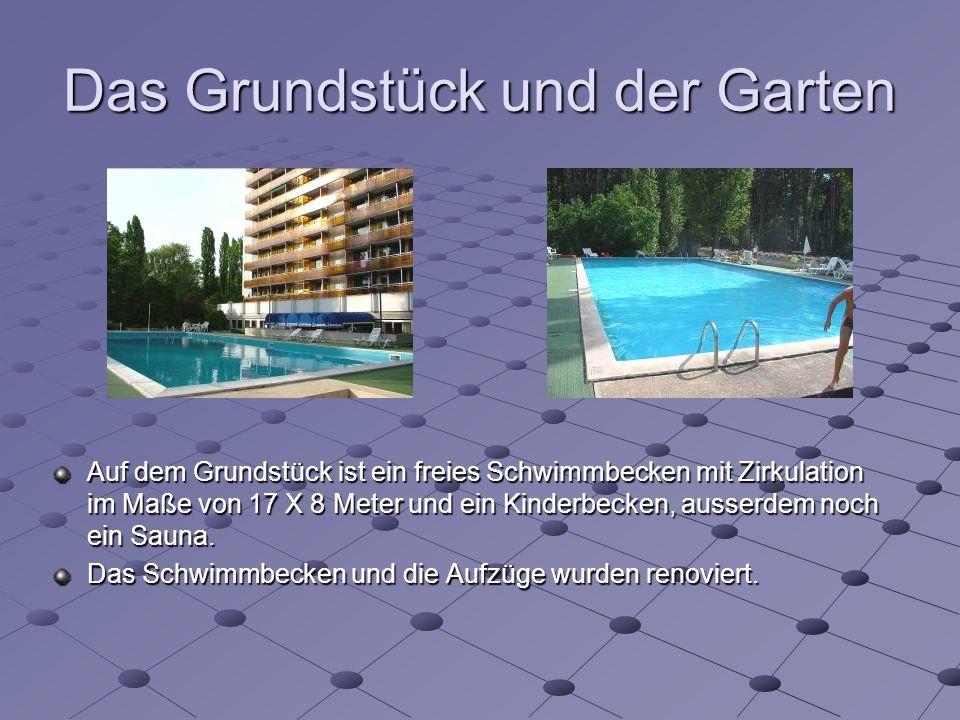 Das Grundstück und der Garten Auf dem Grundstück ist ein freies Schwimmbecken mit Zirkulation im Maße von 17 X 8 Meter und ein Kinderbecken, ausserdem noch ein Sauna.
