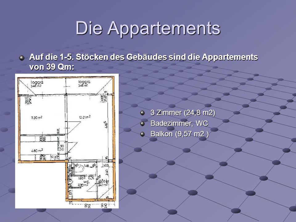 Die Appartements 3 Zimmer (24,8 m2) Badezimmer, WC Balkon (9,57 m2 ) Auf die 1-5.