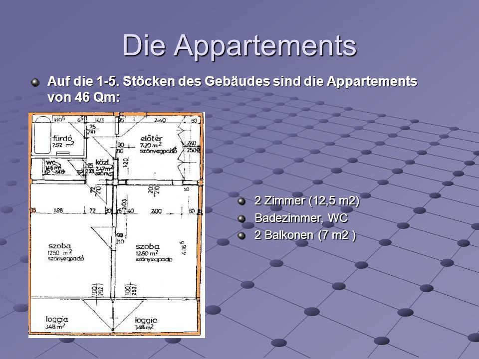 Die Appartements 2 Zimmer (12,5 m2) Badezimmer, WC 2 Balkonen (7 m2 ) Auf die 1-5.