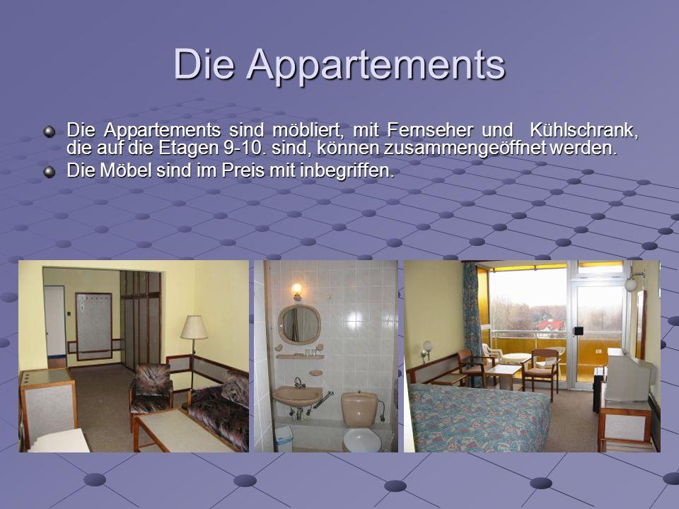 Die Appartements Die Appartements sind möbliert, mit Fernseher und Kühlschrank, die auf die Etagen 9-10.