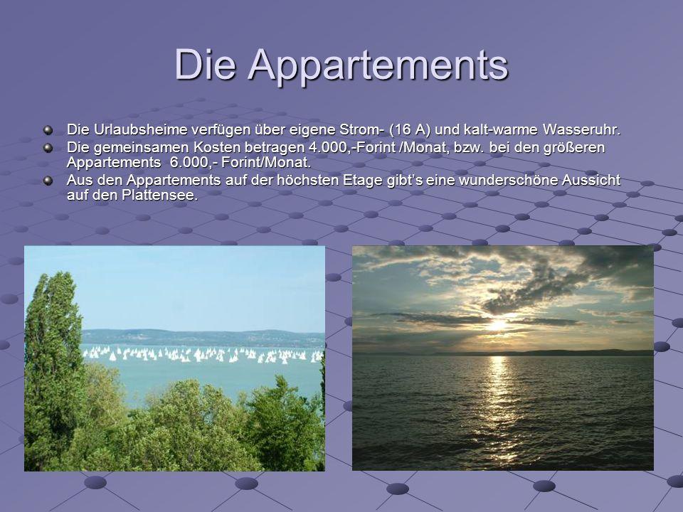 Die Appartements Die Urlaubsheime verfügen über eigene Strom- (16 A) und kalt-warme Wasseruhr.