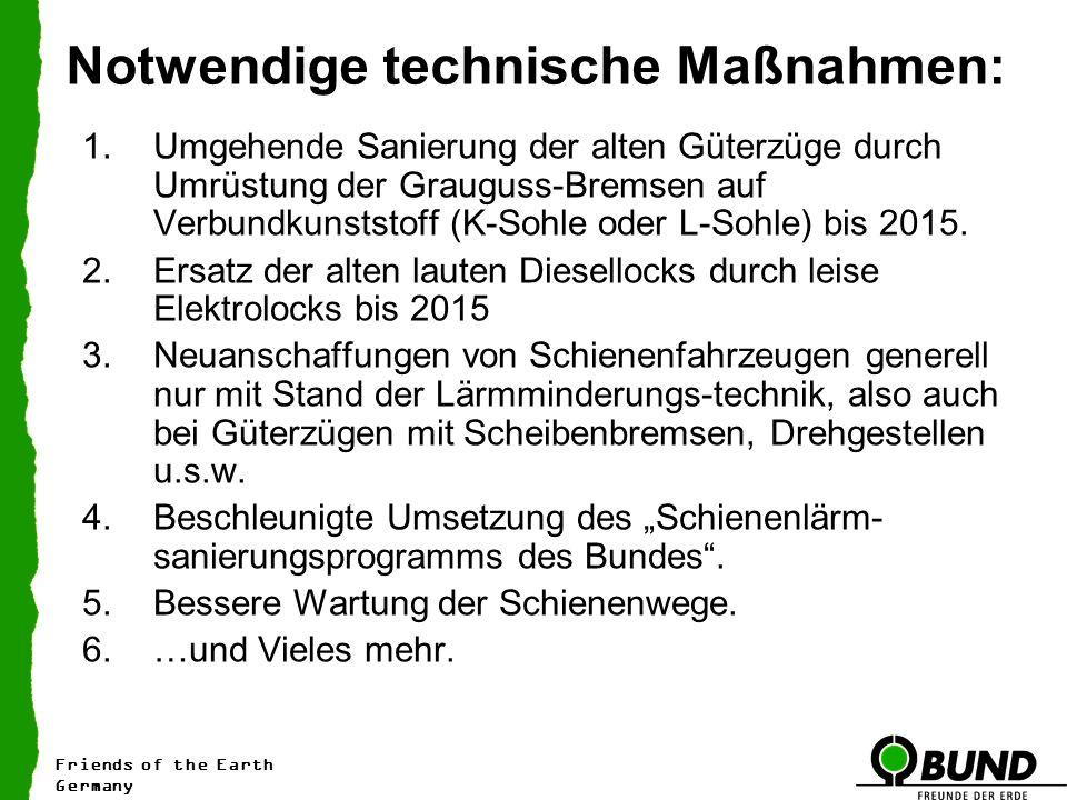 Notwendige technische Maßnahmen: 1.Umgehende Sanierung der alten Güterzüge durch Umrüstung der Grauguss-Bremsen auf Verbundkunststoff (K-Sohle oder L-Sohle) bis 2015.
