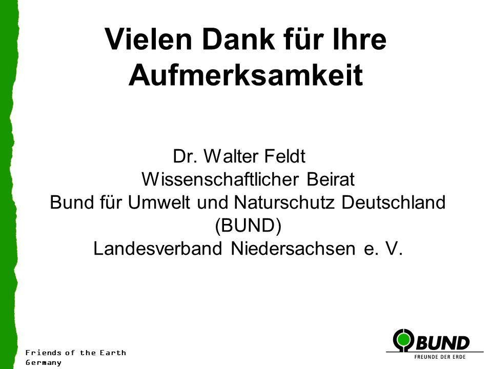 Vielen Dank für Ihre Aufmerksamkeit Dr. Walter Feldt Wissenschaftlicher Beirat Bund für Umwelt und Naturschutz Deutschland (BUND) Landesverband Nieder