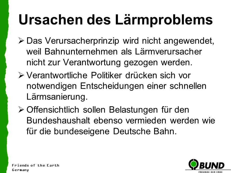 Ursachen des Lärmproblems Das Verursacherprinzip wird nicht angewendet, weil Bahnunternehmen als Lärmverursacher nicht zur Verantwortung gezogen werden.
