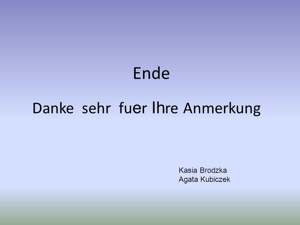 Ende Danke sehr fu e r Ih re Anmerkung Kasia Brodzka Agata Kubiczek