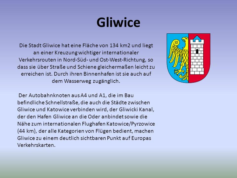 Gliwice Die Stadt Gliwice hat eine Fläche von 134 km2 und liegt an einer Kreuzung wichtiger internationaler Verkehrsrouten in Nord-Süd- und Ost-West-R