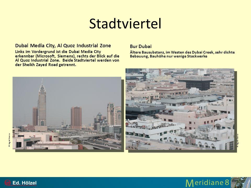 Stadtviertel Dubai Media City, Al Quoz Industrial Zone Links im Vordergrund ist die Dubai Media City erkennbar (Microsoft, Siemens), rechts der Blick